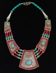 Hand Pressed-Hand Chased Necklace with Coral and Turquoise