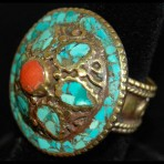 Brass, Coral and Turquoise Flower Ring