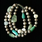 Metal Pearls With Green Stones